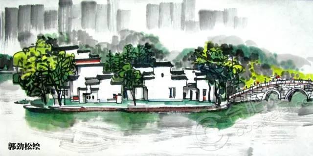湖水马克笔手绘