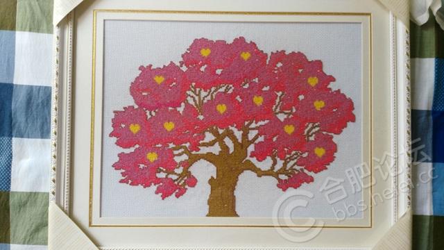 纯手工十字绣发财树,成品已表框