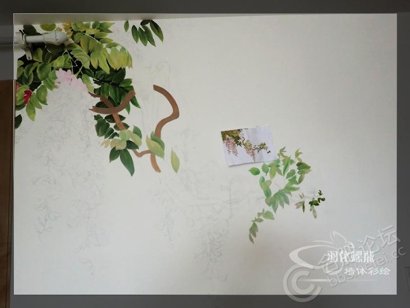 七彩星城工笔画墙绘作品~~~~紫藤盛开