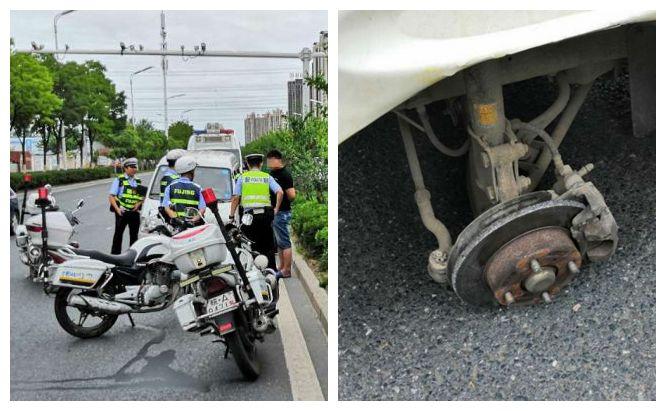 交警拦截套牌黑加油车 司机慌乱中轮胎都跑掉