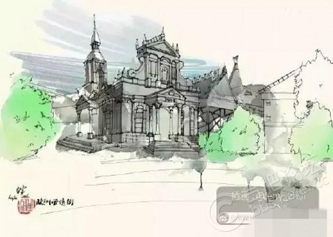 建筑变成手绘画