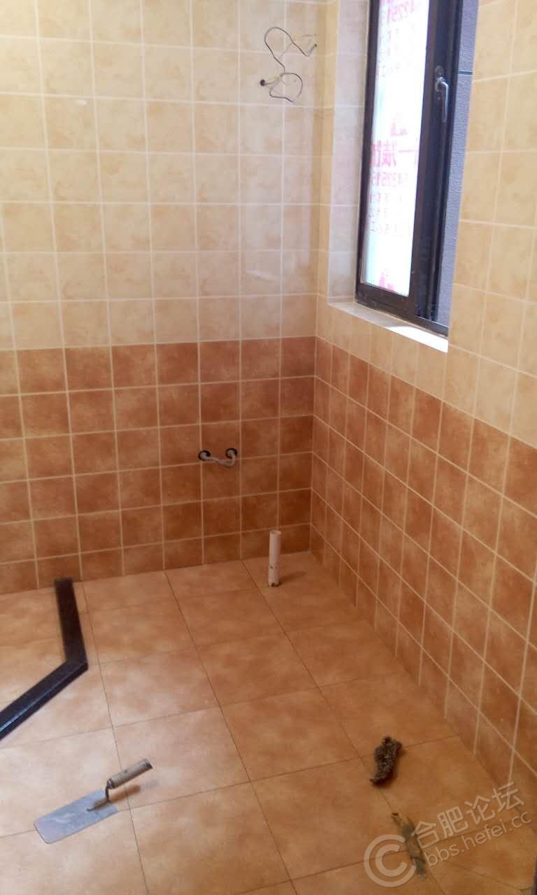 还是卫生间,照照片的时候地砖缝还没填