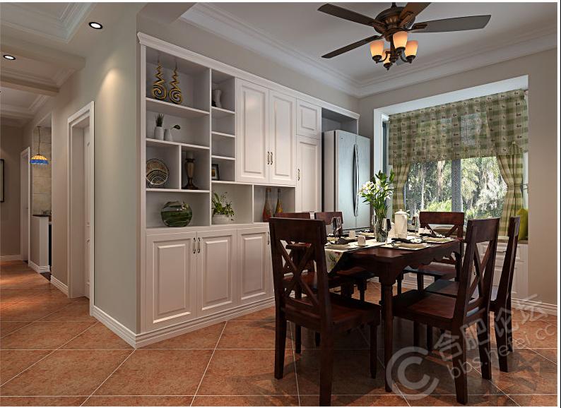 餐厅效果图,整面墙的酒柜(用于储物)加冰箱的组合