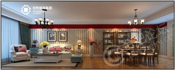 本案保留了美式家具的色泽和质感的同时,又注意适应现代生活空间。在家具上,我们可以看到华丽的枫木滚边,枫木或胡桃木的镶嵌线,扭扣般的手把以及模仿动物形状的家具脚腿造型等。墙面竖条纹的墙纸不仅仅因为受层高2米6的影响,也是为了在美式风格中增加现代风格的线条感。