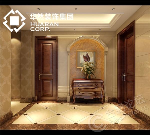 二楼门厅(多功能玄关柜与墙地面造型搭配淋漓尽致).jpg