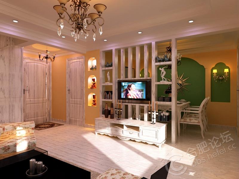 比如,欧式的电视背景墙做隔断,造型精致,空间极负美感;古典的电视背景